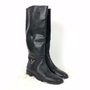 Etienne Aigner Black Leather Derby Heeled Boots